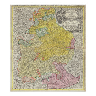 Vintage Map of Bavaria Germany (1728) Poster