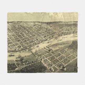 Vintage Map of Bay City Michigan (1867) Fleece Blanket
