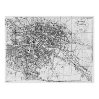 Vintage Map of Berlin (1846) BW Poster
