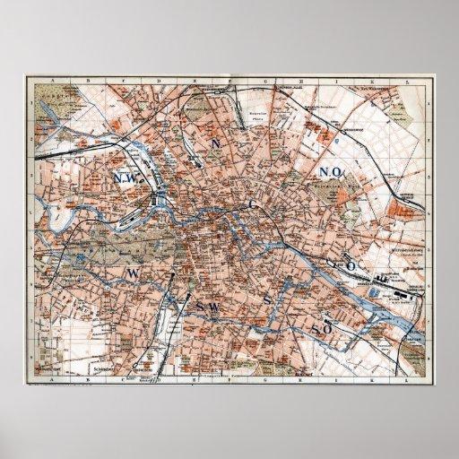 Vintage Map of Berlin Germany (1894) Print