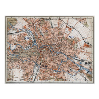 Vintage Map of Berlin Germany 1894 Print