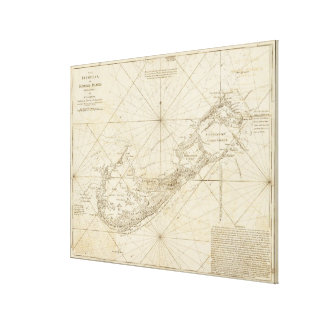Vintage Map of Bermuda (1788) Canvas Print