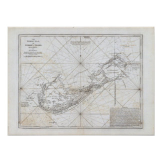 Vintage Map of Bermuda Poster