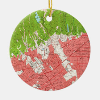 Vintage Map of Beverly Hills California (1950) 2 Ceramic Ornament