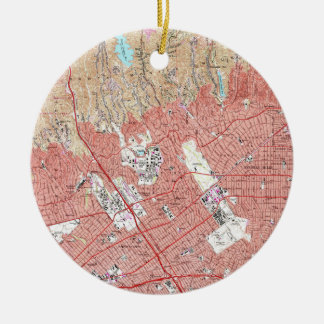 Vintage Map of Beverly Hills California Ceramic Ornament