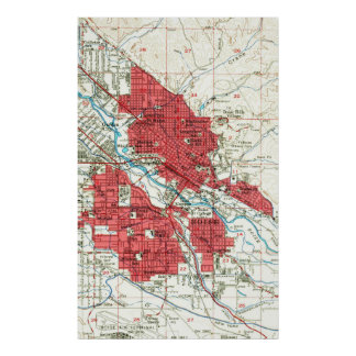 Vintage Map of Boise Idaho (1954) Poster