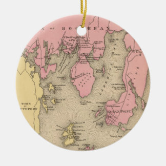 Vintage Map of Boothbay Maine (1894) Ceramic Ornament