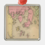 Vintage Map of Boothbay Maine (1894) Silver-Colored Square Decoration