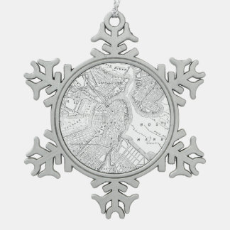 Vintage Map of Boston (1878) Snowflake Pewter Christmas Ornament