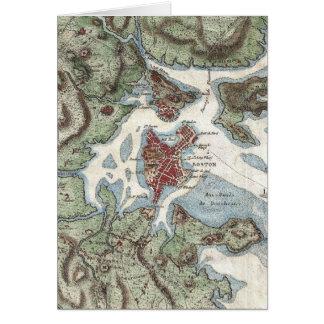 Vintage Map of Boston Harbor (1807) Greeting Card