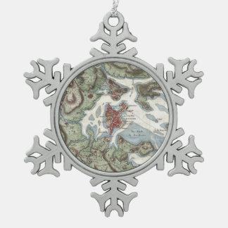 Vintage Map of Boston Harbor (1807) Pewter Snowflake Decoration
