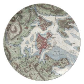 Vintage Map of Boston Harbor 1807 Dinner Plates