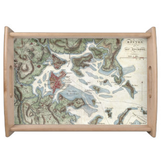 Vintage Map of Boston Harbor (1807) Service Trays