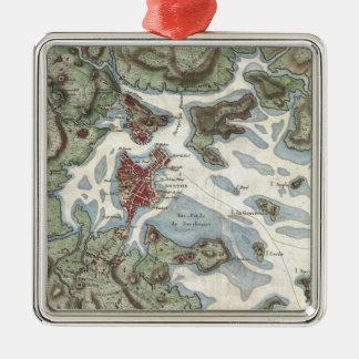 Vintage Map of Boston Harbor (1807) Silver-Colored Square Decoration