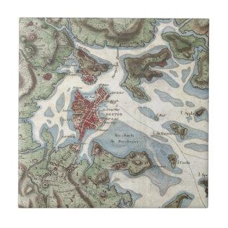 Vintage Map of Boston Harbor (1807) Ceramic Tiles