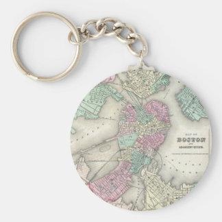 Vintage Map of Boston Harbor (1857) Basic Round Button Key Ring