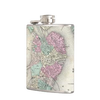 Vintage Map of Boston Harbor (1857) Flasks