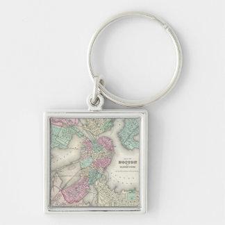 Vintage Map of Boston Harbor (1857) Keychains