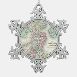 Vintage Map of Boston Harbor (1857) Pewter Snowflake Decoration