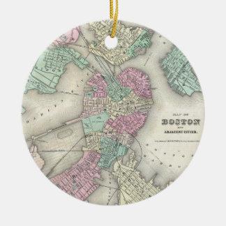 Vintage Map of Boston Harbor (1857) Round Ceramic Decoration