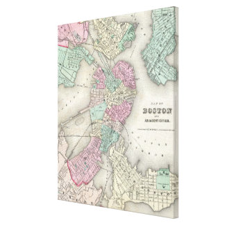 Vintage Map of Boston Harbor (1857) Stretched Canvas Print