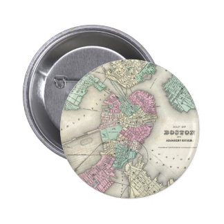 Vintage Map of Boston Harbour (1857) Button