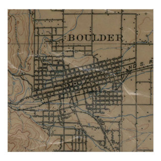 Vintage Map of Boulder Colorado (1904) Poster