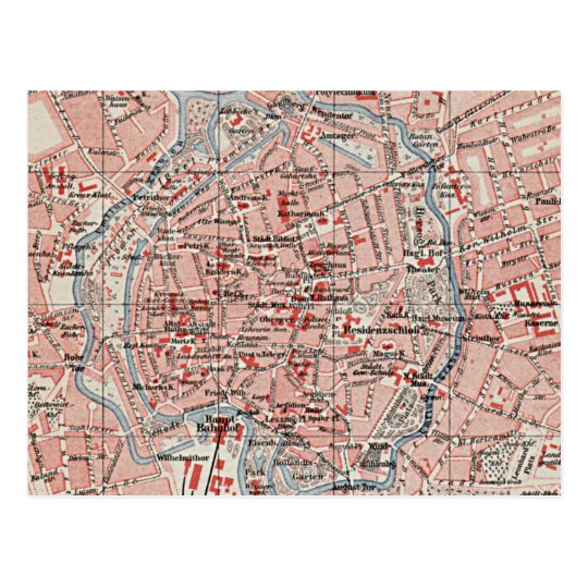 Vintage Map of Braunschweig Germany (1905) Postcard