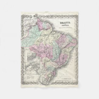Vintage Map of Brazil (1855) Fleece Blanket