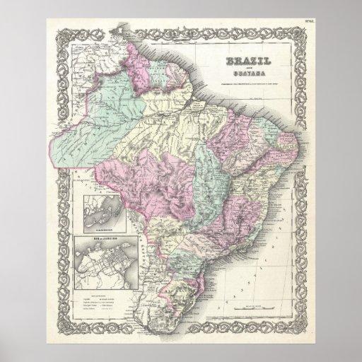 Vintage Map of Brazil (1855) Poster