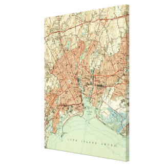 Vintage Map of Bridgeport Connecticut (1951) 2 Canvas Print