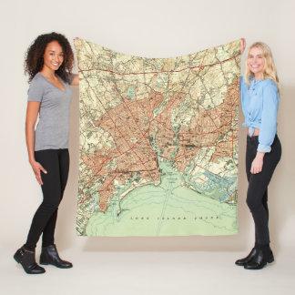 Vintage Map of Bridgeport Connecticut (1951) 2 Fleece Blanket