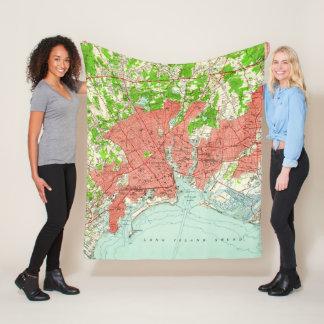 Vintage Map of Bridgeport Connecticut (1951) Fleece Blanket