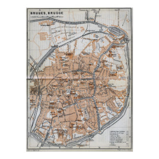 Vintage Map of Bruges (1905) Poster