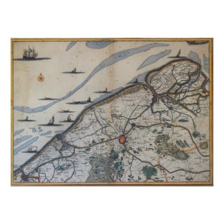 Vintage Map of Bruges Belgium (17th Century) Poster