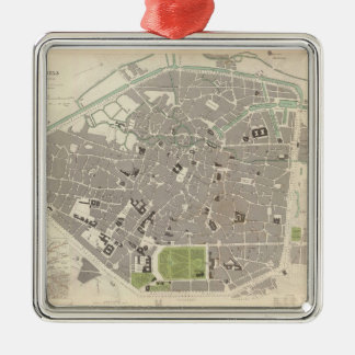 Vintage Map of Brussels (1837) Metal Ornament
