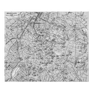 Vintage Map of Brussels (1905) BW Poster