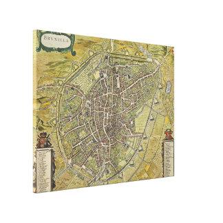 Vintage Map of Brussels Belgium (1698) Canvas Print