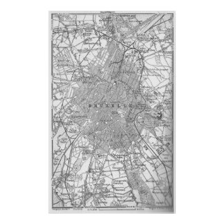 Vintage Map of Brussels Belgium (1905) Poster