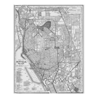 Vintage Map of Buffalo New York (1891) BW Poster