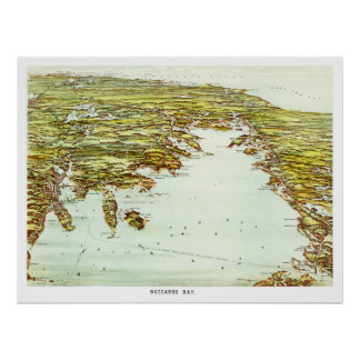 Vintage map of Buzzards Bay, Massachusetts Poster