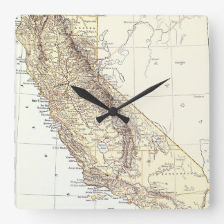 Vintage Map of California (1878) Square Wall Clock