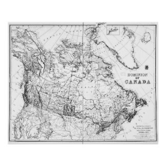 Vintage Map of Canada (1898) BW Poster