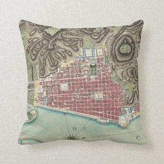 Vintage Map of Cap-Haitien Haiti (1786) Throw Pillow