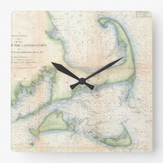 Vintage Map of Cape Cod (1857) Square Wall Clock