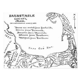 Vintage Map of Cape Cod (1890) Postcard