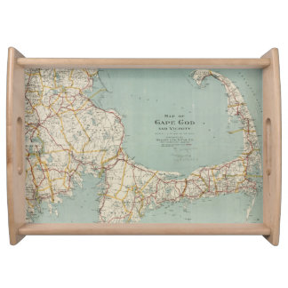 Vintage Map of Cape Cod (1917) Serving Tray
