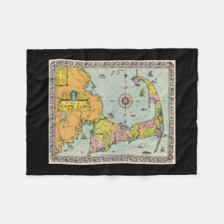 Vintage Map of Cape Cod Fleece Blanket