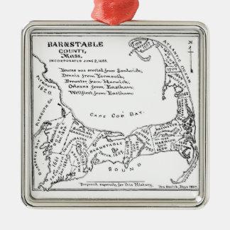 Vintage Map of Cape Cod Metal Ornament