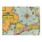 Vintage Map of Cape Cod Postcard